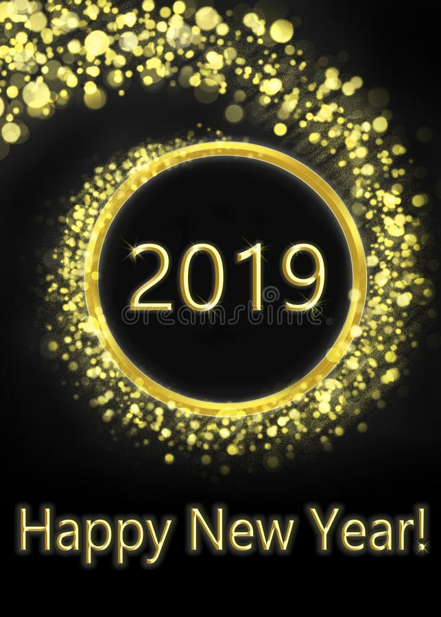 Feliz Año Nuevo 2019 de la tarjeta de felicitación libre illustration