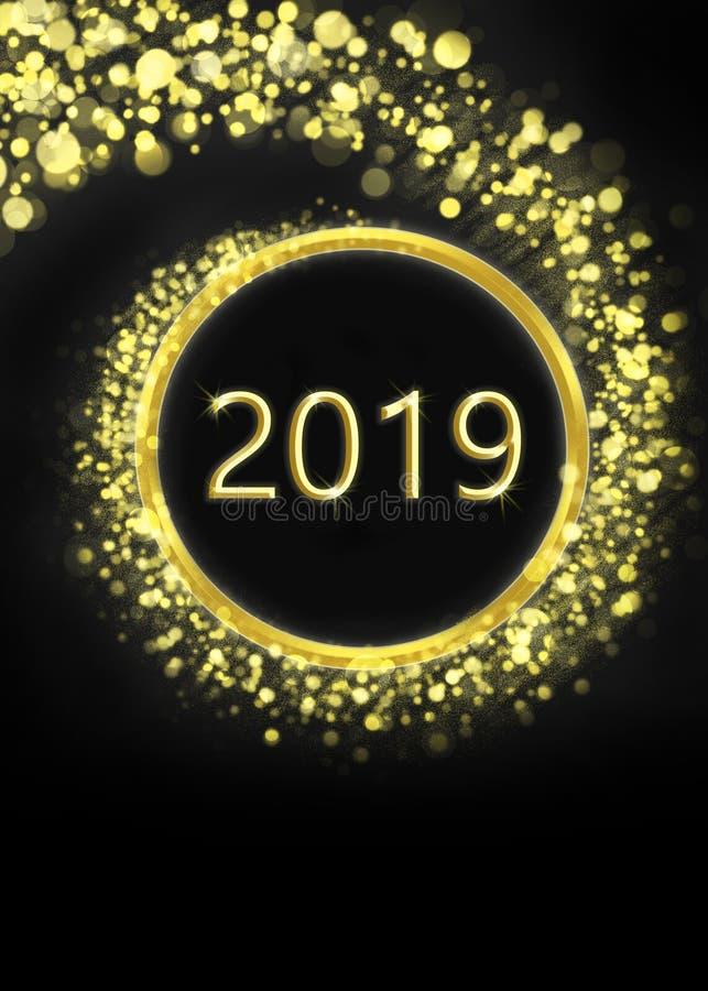 Feliz Año Nuevo 2019 de la tarjeta de felicitación ilustración del vector