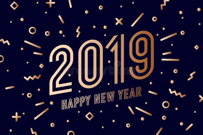 2019, Feliz Año Nuevo Feliz Año Nuevo 2019 de la tarjeta de felicitación stock de ilustración