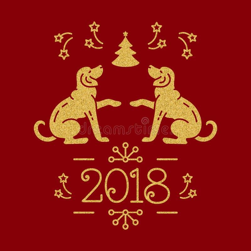 Feliz Año Nuevo 2018 de la tarjeta de Navidad Perros de oro, árbol de navidad, fuegos artificiales en un fondo rojo Ilustración d ilustración del vector