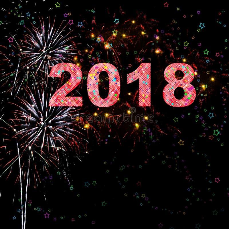 Feliz Año Nuevo 2018 de los fuegos artificiales libre illustration
