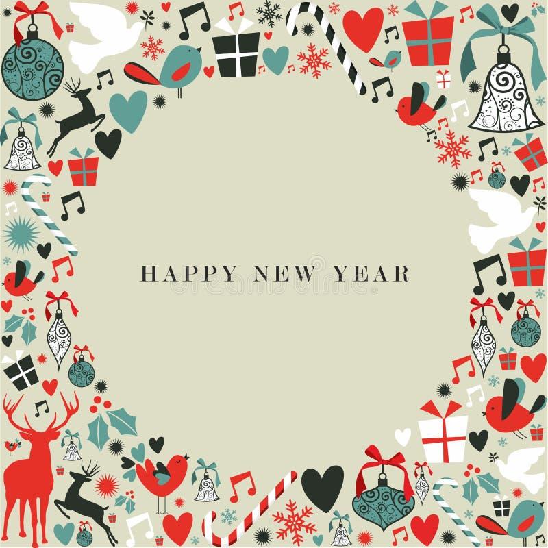 Feliz Año Nuevo de los iconos 2013 de la Navidad ilustración del vector