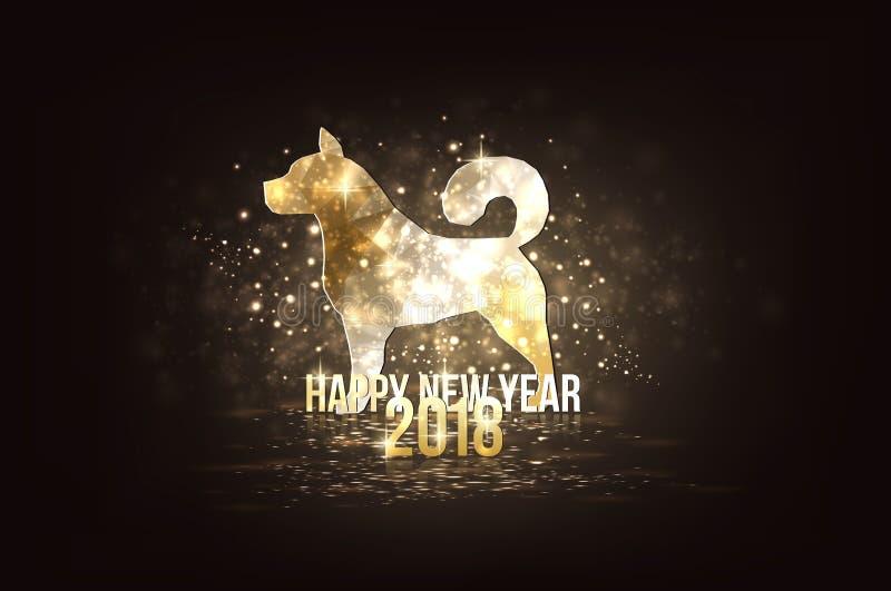 Feliz Año Nuevo 2018 - año de perro stock de ilustración