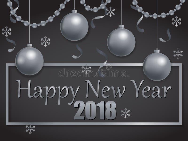 Feliz Año Nuevo 2018 de plata y negra stock de ilustración