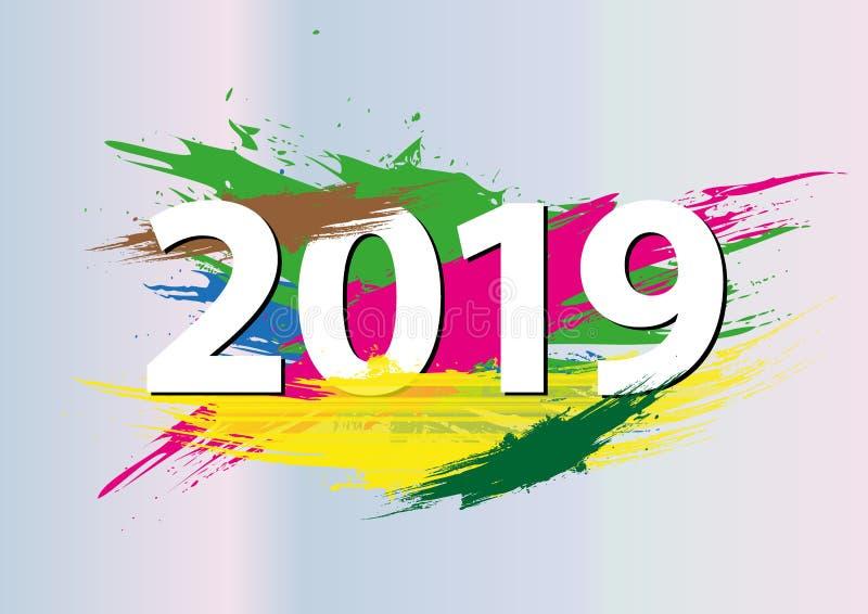 Feliz Año Nuevo del color del extracto de 2019 números del Año Nuevo ilustración del vector