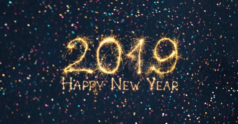 Feliz Año Nuevo 2019 del día de fiesta de la bandera granangular de la web foto de archivo