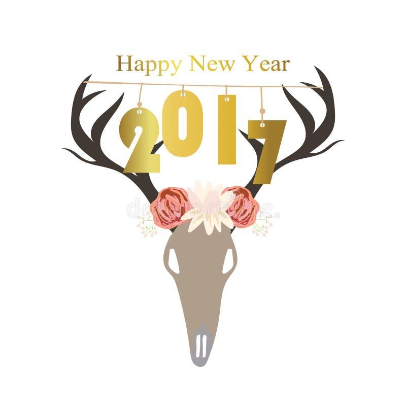 Feliz Año Nuevo del oro rosa claro con salvaje y flor en boho stock de ilustración