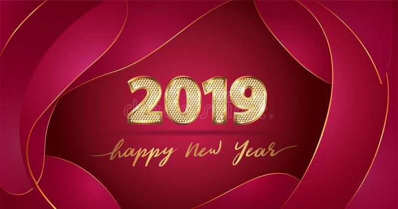 Feliz Año Nuevo del texto 2019 de lujo de oro del vector en fondo flúido rojo chino stock de ilustración