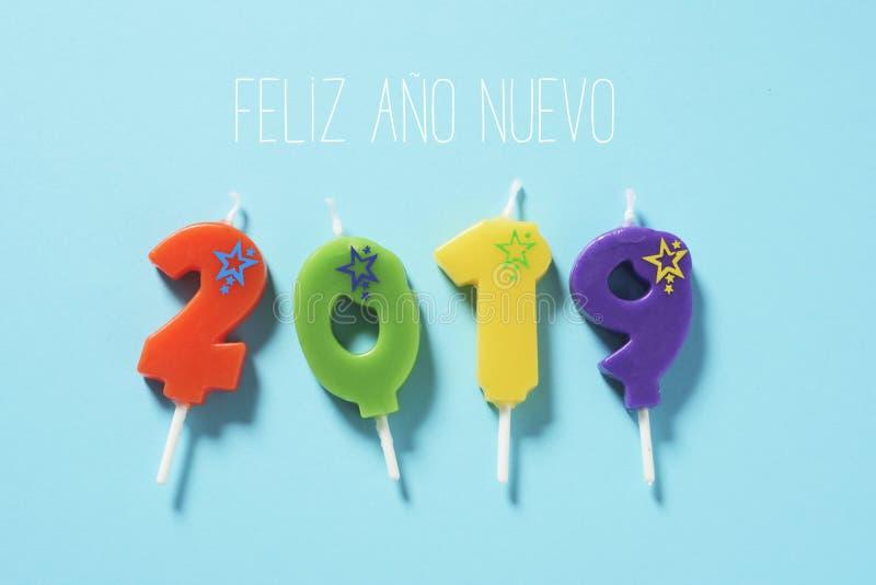 Feliz Año Nuevo 2019 del texto en español fotografía de archivo