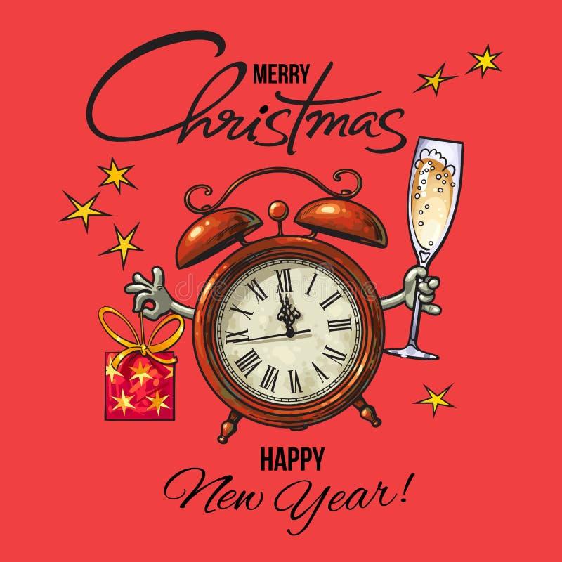 Feliz Año Nuevo del vintage, tarjeta de felicitación de la Feliz Navidad Despertador que sostiene el vidrio de la caja del champá libre illustration