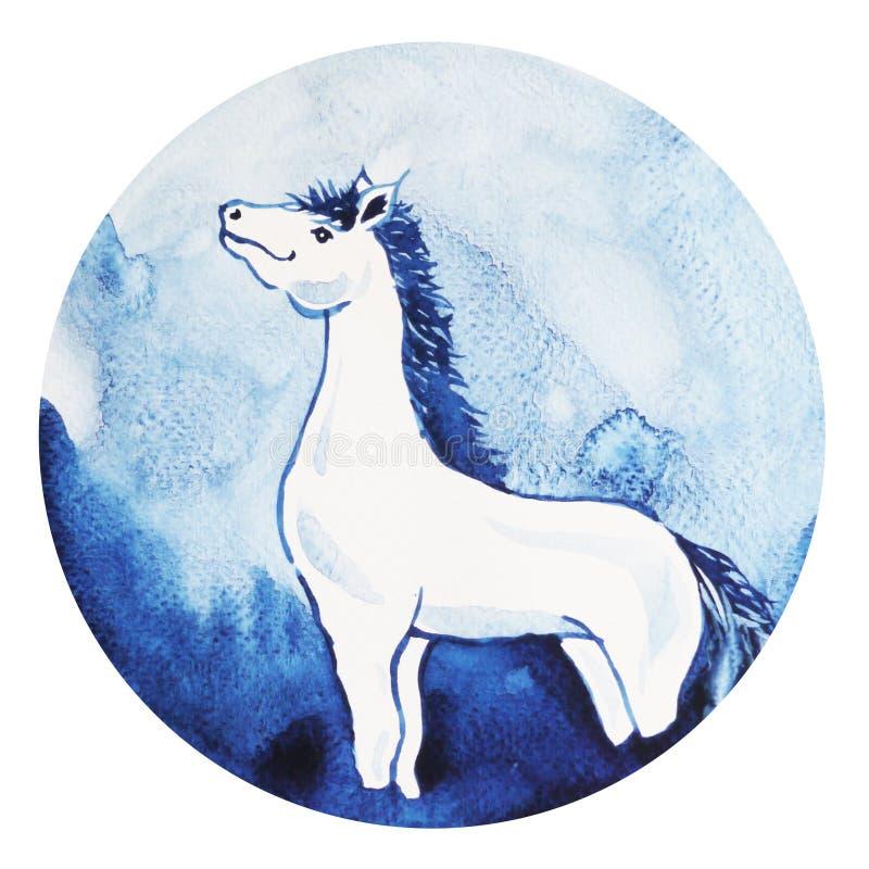 Feliz Año Nuevo del zodiaco chino del caballo, acuarela que pinta mínima libre illustration