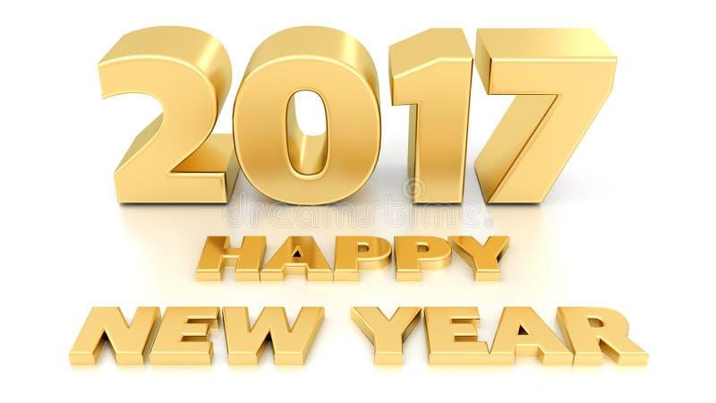 Feliz Año Nuevo 2017 diseño 3D stock de ilustración