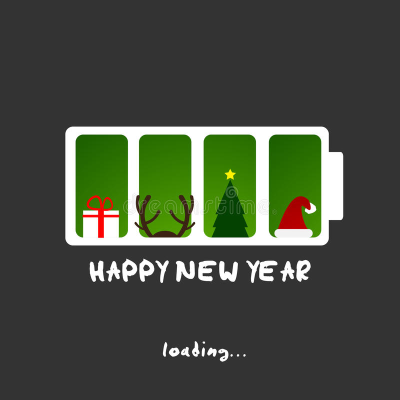 Feliz Año Nuevo, diseño de tarjeta divertido de la Navidad stock de ilustración