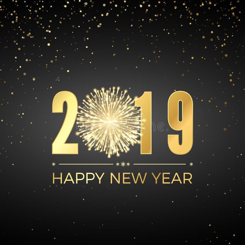 Feliz Año Nuevo 2019 Diseño del texto de la tarjeta de felicitación Años Nuevos de bandera con números de oro y el fuego artifici stock de ilustración
