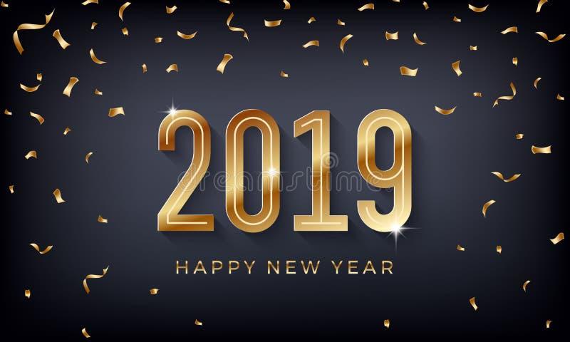 Feliz Año Nuevo 2019 Ejemplo abstracto creativo del vector con números de oro chispeantes en fondo oscuro ilustración del vector