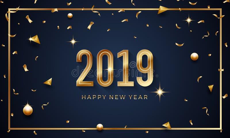 Feliz Año Nuevo 2019 Ejemplo abstracto creativo del vector con números de oro chispeantes en fondo oscuro stock de ilustración