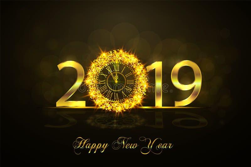Feliz Año Nuevo 2017 Ejemplo del vector con el reloj del oro libre illustration