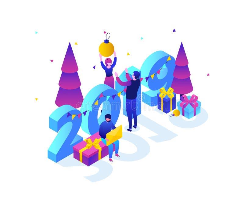 Feliz Año Nuevo - ejemplo isométrico colorido moderno del vector libre illustration