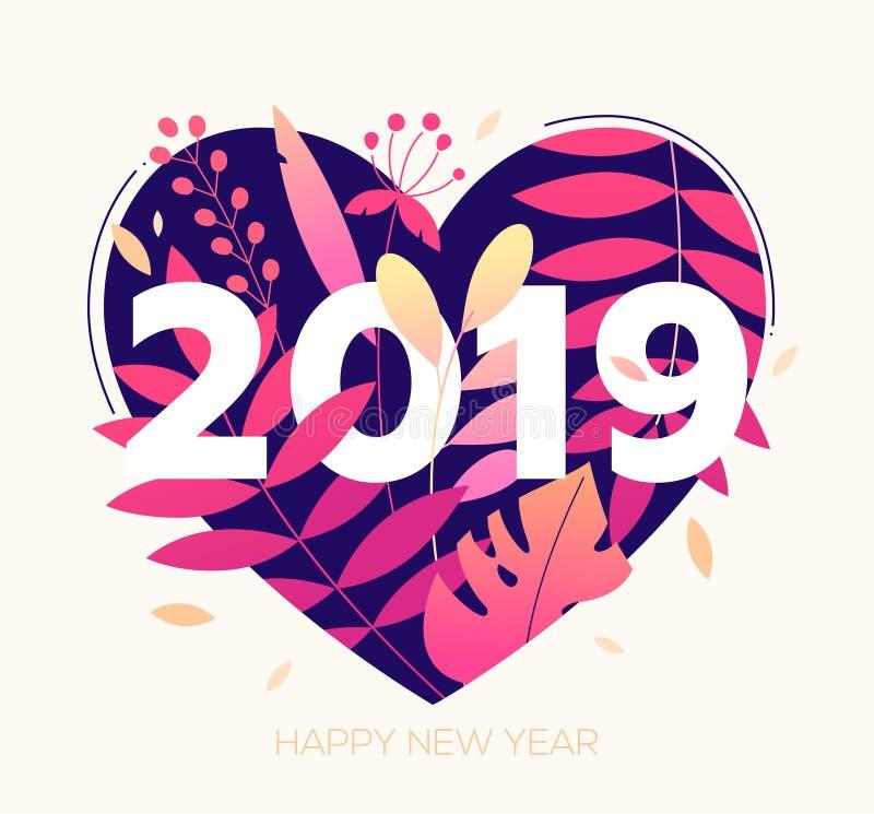 Feliz Año Nuevo - ejemplo plano moderno del estilo del diseño libre illustration