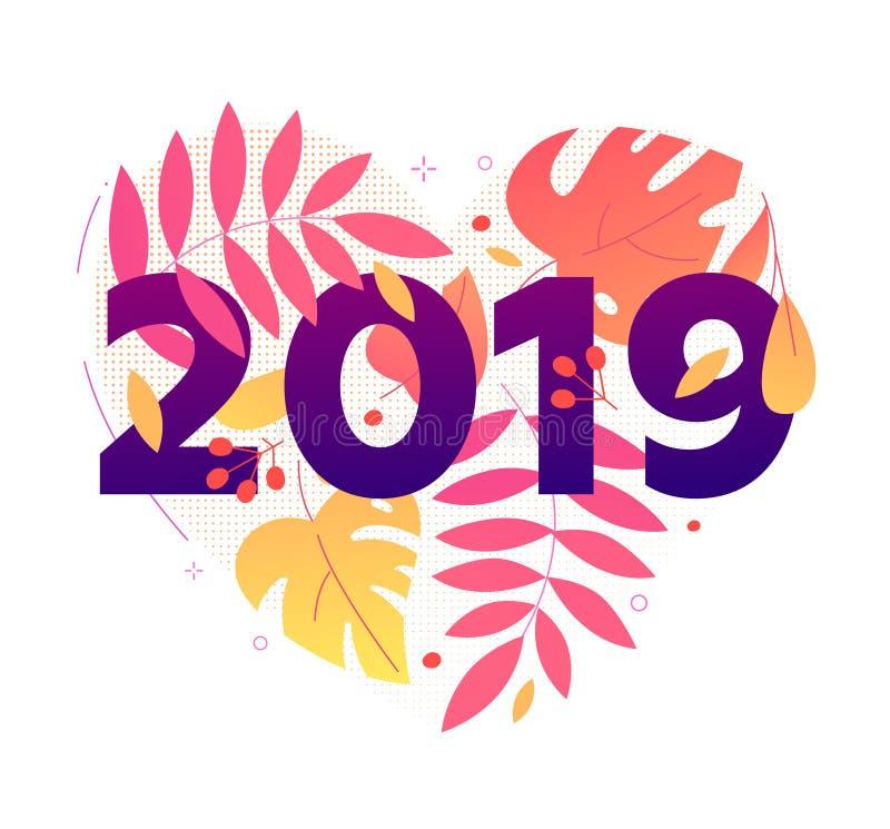 Feliz Año Nuevo - ejemplo plano moderno del estilo del diseño stock de ilustración
