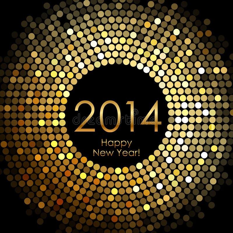 Feliz Año Nuevo 2014 - el disco del oro enciende el marco libre illustration