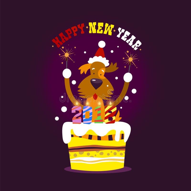 Feliz Año Nuevo El símbolo de 2018 es un perro amarillo con la luz de Bengala stock de ilustración