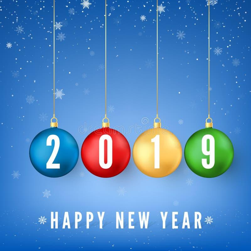 Feliz Año Nuevo 2019 Elemento de la decoración del Año Nuevo y de la Navidad Tarjeta de felicitación con los números blancos 2019 ilustración del vector