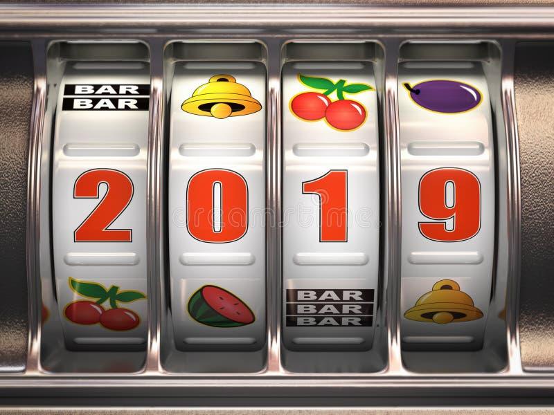 Feliz Año Nuevo 2019 en casino Máquina tragaperras con número del bote ilustración del vector