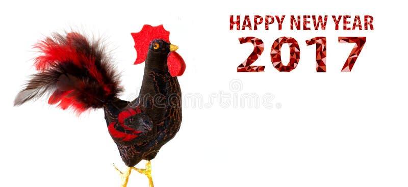 Feliz Año Nuevo 2017 en el calendario chino de la tarjeta de la plantilla del gallo fotos de archivo
