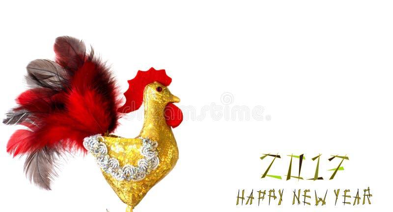Feliz Año Nuevo 2017 en el calendario chino de la tarjeta de la plantilla del gallo fotografía de archivo libre de regalías