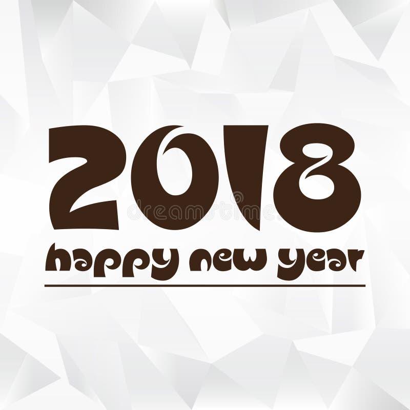 Feliz Año Nuevo 2018 en el fondo bajo de papel arrugado eps10 del polígono stock de ilustración
