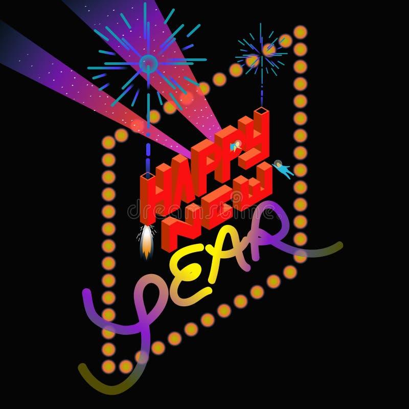 Feliz Año Nuevo en estilo isométrico del espacio fotografía de archivo