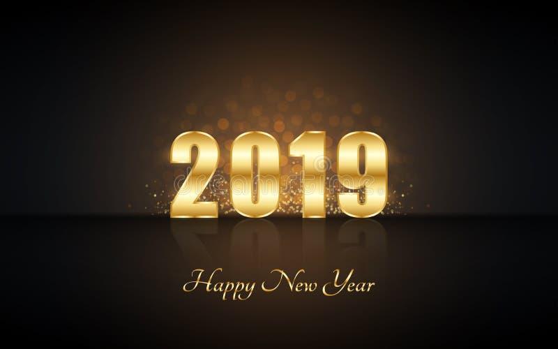 Feliz Año Nuevo 2019 en etiqueta de oro con brillo de la explosión y reflexión en fondo negro del color stock de ilustración