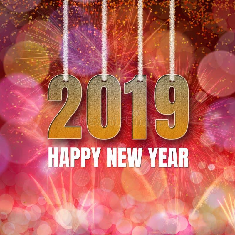 Feliz Año Nuevo 2019 en modelo de la llamarada del bokeh y de la lente en púrpura anaranjada roja del verano en fondo imagen de archivo libre de regalías
