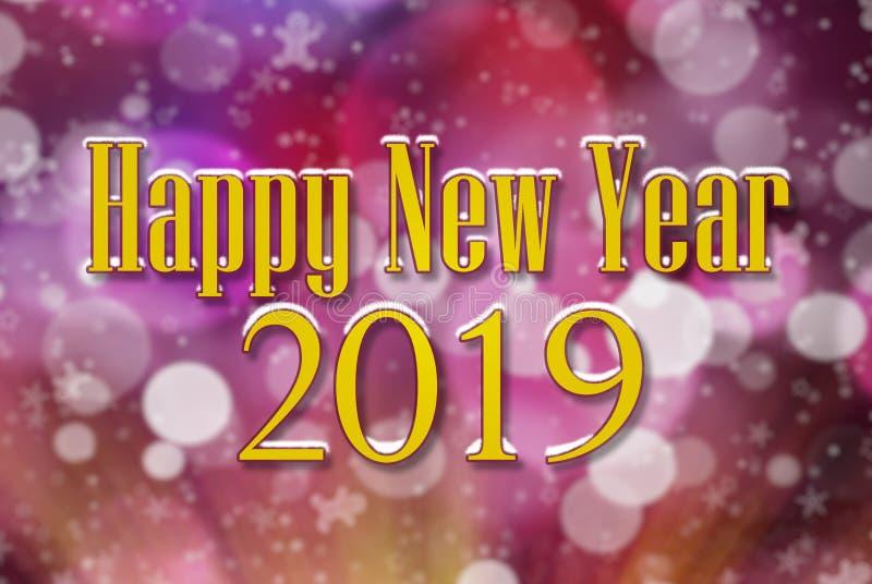 Feliz Año Nuevo 2019 en modelo de la llamarada del bokeh y de la lente en púrpura coloreada en fondo fotos de archivo libres de regalías