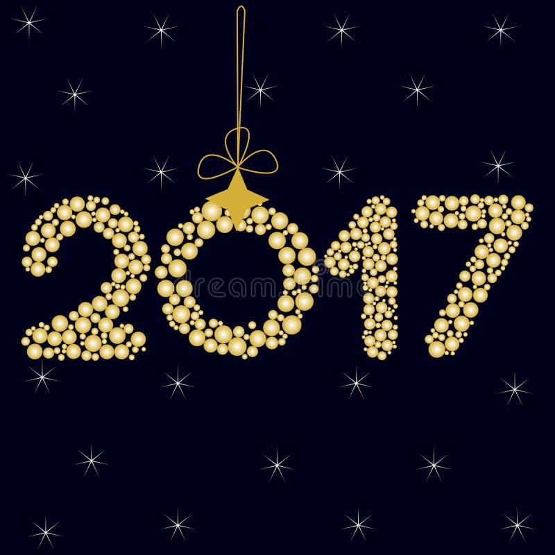Feliz Año Nuevo 2017 en un fondo azul marino con las estrellas cero bajo la forma de bola de la Navidad con el arco ilustración del vector