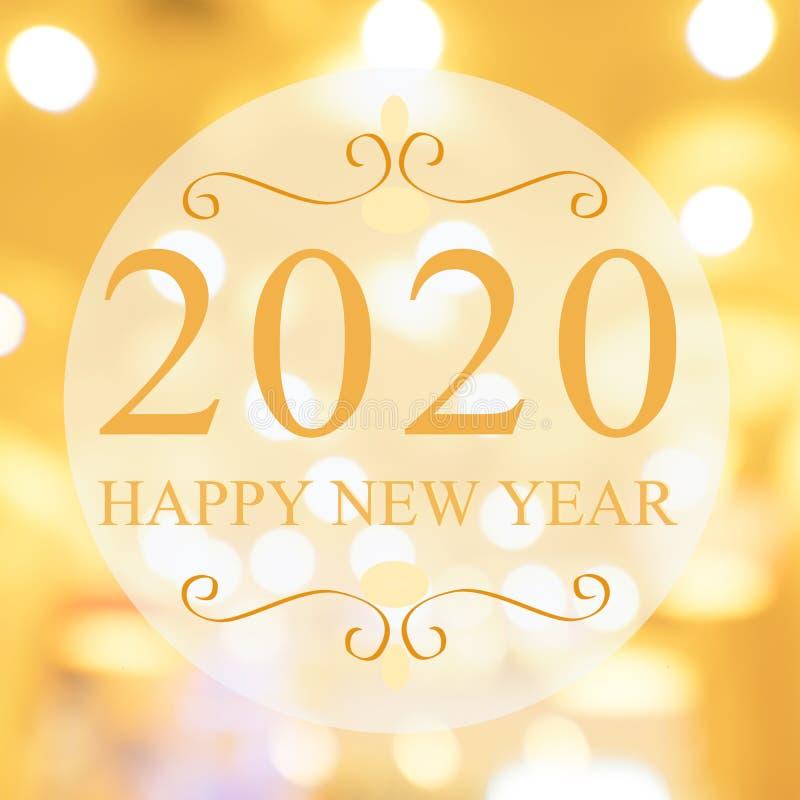Feliz Año Nuevo 2020 en un hermoso centro comercial de fondo blur y bokeh Tono dorado ilustración del vector