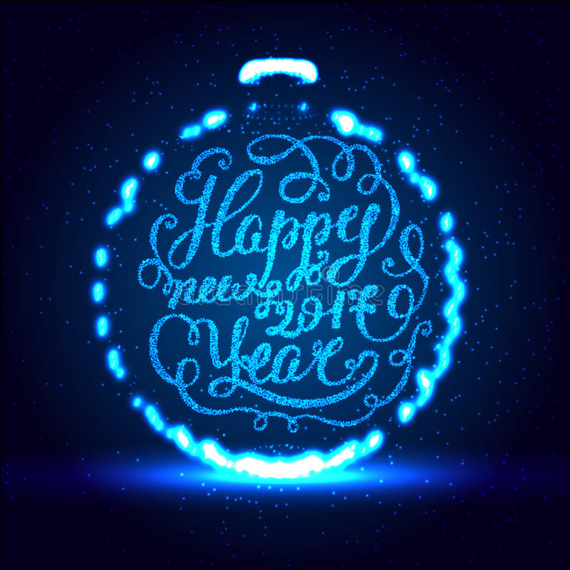 Feliz Año Nuevo EPS 10 Ejemplo del vector del día de fiesta Composición brillante de las letras con las estrellas y las chispas ilustración del vector
