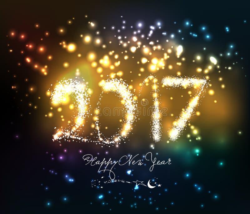 Feliz Año Nuevo 2017 escrita con el fuego artificial de la chispa stock de ilustración