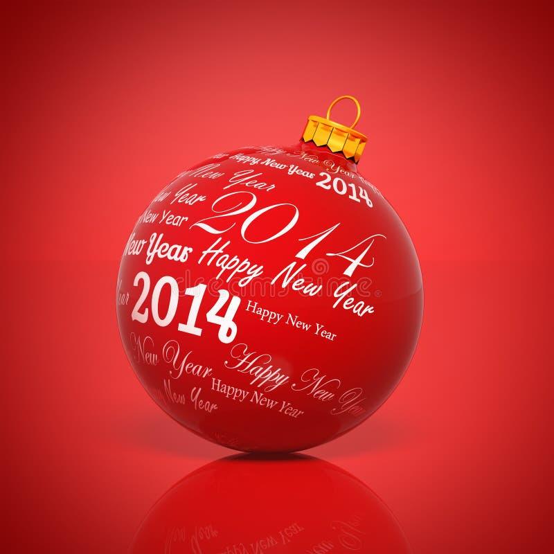 Feliz Año Nuevo 2014 escrita en bola de la Navidad ilustración del vector