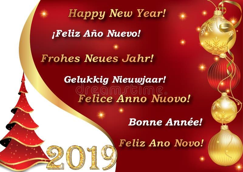 Feliz Año Nuevo 2019 - escrita en 7 idiomas stock de ilustración