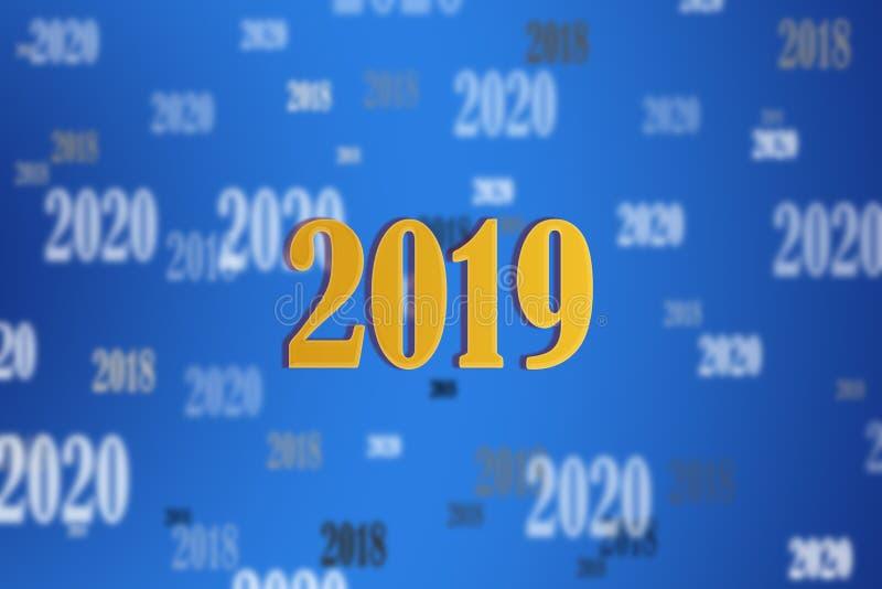 Feliz Año Nuevo Fondo azul de la pendiente con el número 2019 de foto de archivo libre de regalías