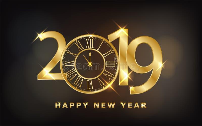 Feliz Año Nuevo 2019 - fondo brillante del Año Nuevo con el reloj y el brillo del oro ilustración del vector