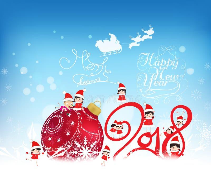 Feliz Año Nuevo 2018 Fondo de la Navidad con la chuchería, los niños, la nieve y los copos de nieve rojos ilustración del vector