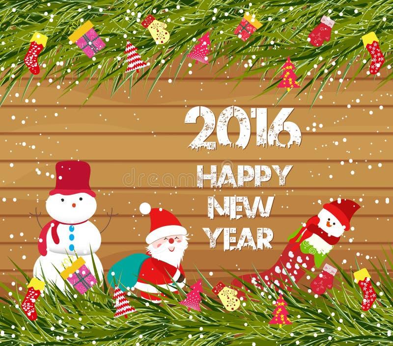 Feliz Año Nuevo 2016, fondo de la Navidad con el muñeco de nieve y Papá Noel en la madera stock de ilustración
