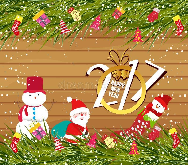 Feliz Año Nuevo 2017, fondo de la Navidad con el muñeco de nieve y Papá Noel en la madera libre illustration