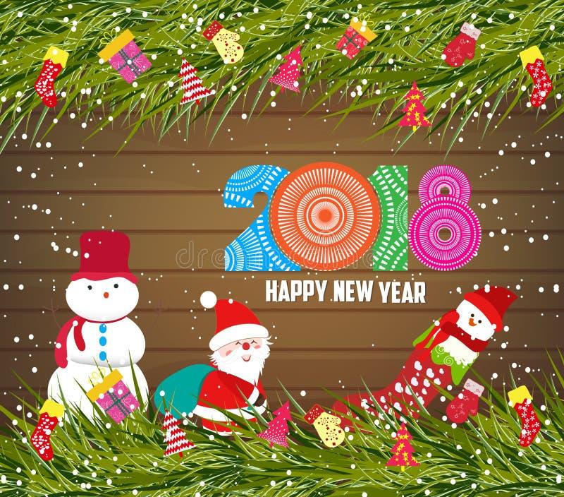 Feliz Año Nuevo 2018, fondo de la Navidad con el muñeco de nieve y Papá Noel en la madera stock de ilustración