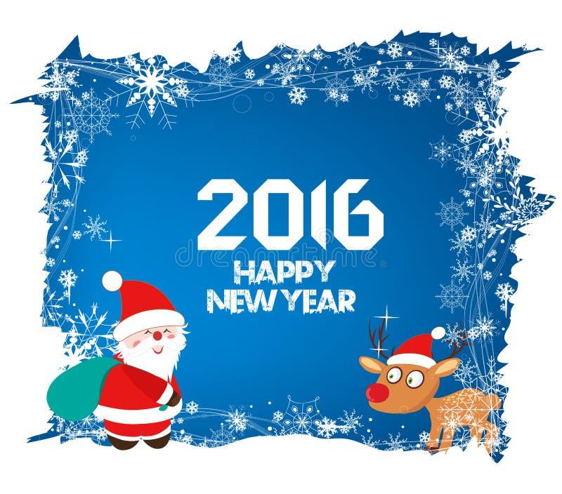 Feliz Año Nuevo 2016, fondo de la Navidad con Papá Noel y ciervos libre illustration