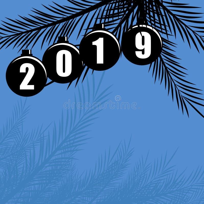 Feliz Año Nuevo fondo del vector de 2019 días de fiesta con la decoración de la Navidad ilustración del vector