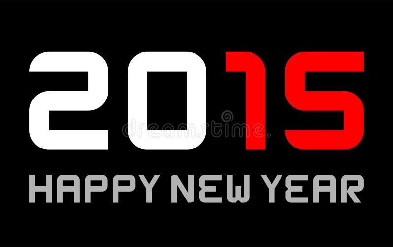 Feliz Año Nuevo 2015 - fuente básica rectangular, rojo marcado ilustración del vector